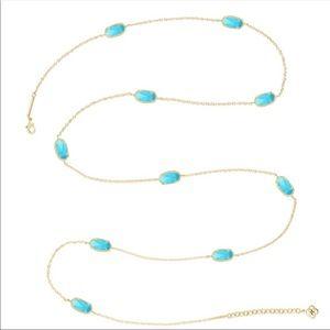 Kendra Scott Kellie Gold Long Necklace - Turquoise